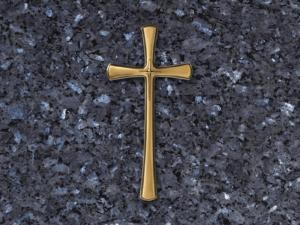 Cruz de bronce para lapida con puntas redondeadas