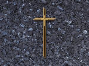 Cruz doble de bronce para lapidas