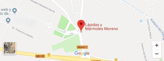 Localizacion Mapa Lapidas y Marmoles Moreno