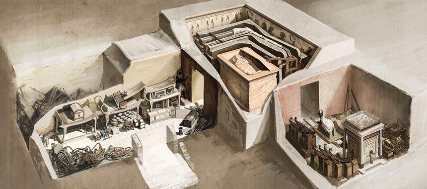 Esquema de la tumba de Tutankamón realizado por Wojciech Ostrycharz