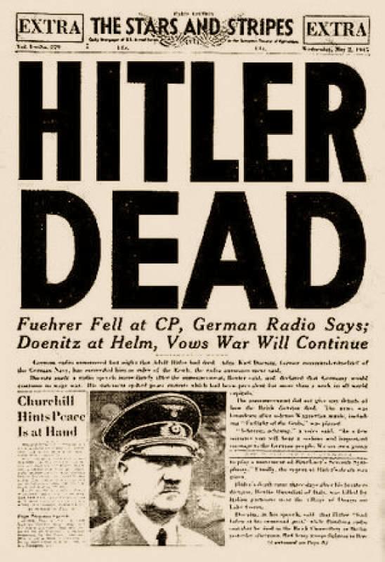 Portada de periódico informando de la muerte de Hitler