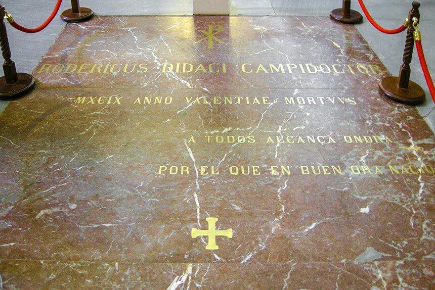 Inscripción sobre la tumba del Cid Campeador